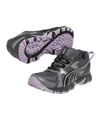 Steel Gray & Black Plum Pumafox Trail Running Shoe - Women
