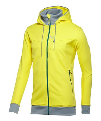 Blazing Yellow Softshell Hooded Jacket - Men