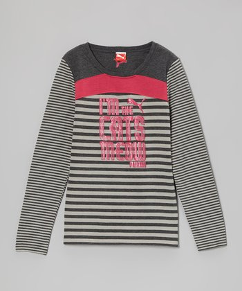Heather Gray Puma 'Cats Meow' Long-Sleeve Tee - Toddler & Girls