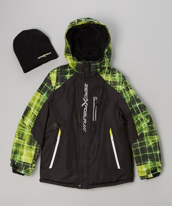 Black & Green Puffer Coat & Beanie - Boys