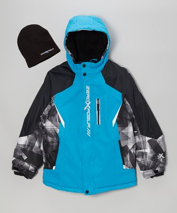Black & Blue Puffer Coat & Beanie - Boys