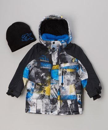 Blue & Yellow Saffron Graphic Coat & Beanie - Boys
