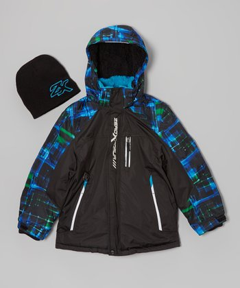 Blue Puffer Coat & Beanie - Boys