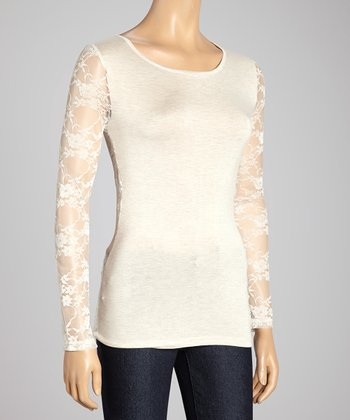 Heather Beige Lace Long-Sleeve Top