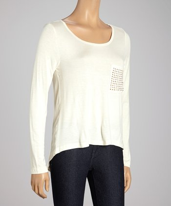 Ivory Studded Pocket Top