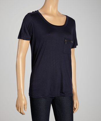 Navy Zipper Pocket Tee