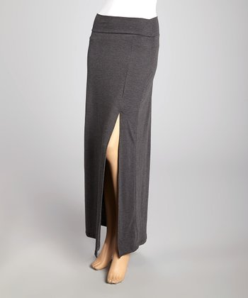 Charcoal Side-Slit Maxi Skirt