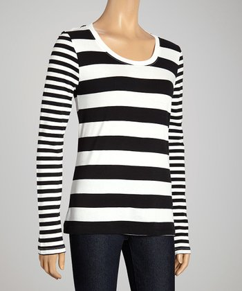 Black & White Double-Stripe Scoop Neck Top