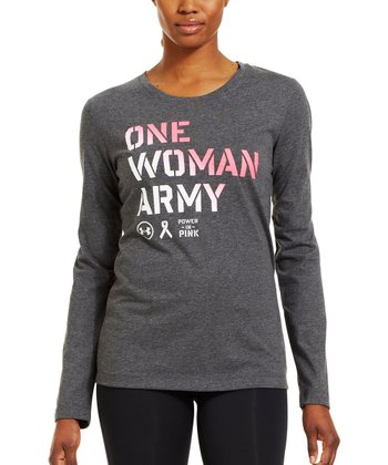 Carbon Heather Power in Pink® 'One Woman Army' Tee
