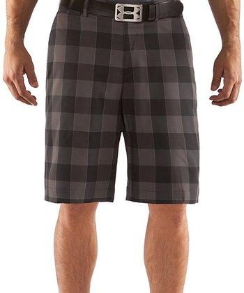 Black Square Plaid Golf Shorts - Men & Tall