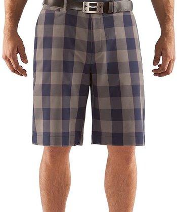 Midnight Navy Square Plaid Golf Shorts - Men & Tall