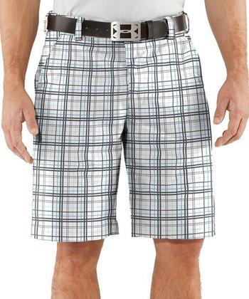 White Forged Plaid Golf Shorts - Men & Tall