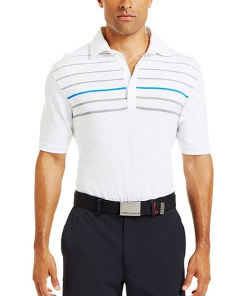 White & Blue Operative Stripe Polo - Men & Tall