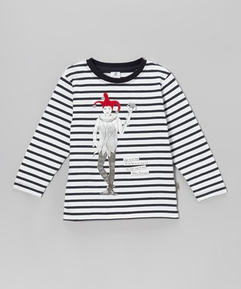 Navy & White Stripe 'Fool' Tee - Infant, Toddler & Kids