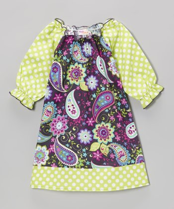Gray & Green Paisley Peasant Dress - Toddler & Girls