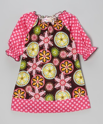 Brown & Pink Floral Peasant Dress - Toddler & Girls