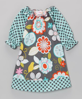 Gray & Blue Floral Polka Dot Peasant Dress - Toddler & Girls