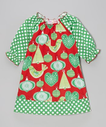 Red & Green Ornament Polka Dot Peasant Dress - Toddler & Girls