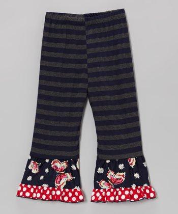 Navy & Gray Stripe Butterfly Ruffle Leggings - Toddler & Girls