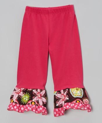 Hot Pink & Brown Floral Ruffle Leggings - Toddler & Girls
