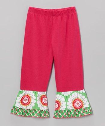 Hot Pink & Green Floral Ruffle Leggings - Toddler & Girls