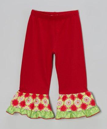 Dark Red & Lime Tile Ruffle Leggings - Toddler & Girls