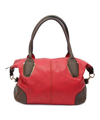 Red Stitched Satchel