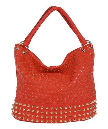 Rust Basket Weave Studded Hobo