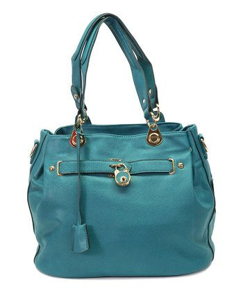 Peacock Blue Lock Tote