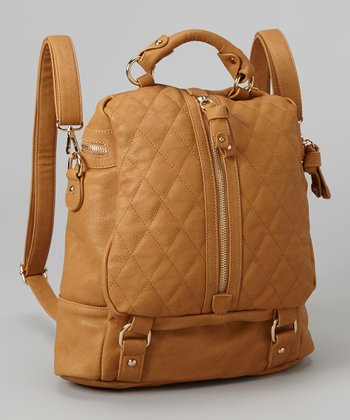 Khaki Quilted Backpack
