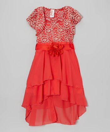 Coral Floral Embroidered Hi-Low Dress & Shrug - Girls