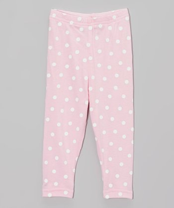 Light Pink & White Polka Dot Leggings - Infant, Toddler & Girls
