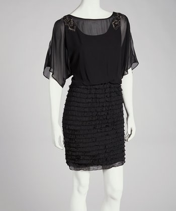 Black Embellished Ruffle Dress - Women
