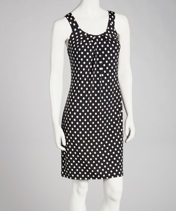 Black & White Polka Dot Shift Dress - Women