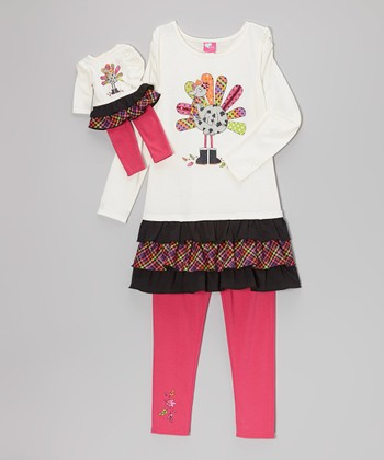 Ivory Turkey Tunic Set & Doll Outfit - Girls
