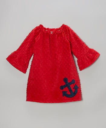 Red Anchor Minky Peasant Dress - Infant, Toddler & Girls