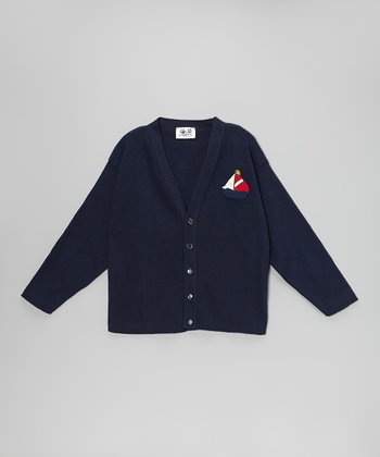 Navy Sailboat Cardigan - Kids