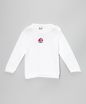 White Sailboat Sweater - Toddler & Kids