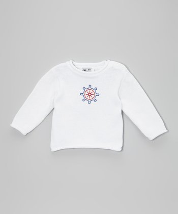 White Ship's Wheel Sweater - Infant & Toddler