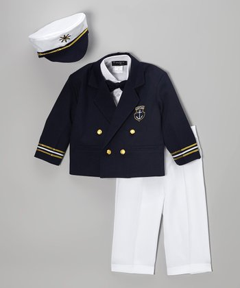 Fouger for Kids Navy Five-Piece Captain Suit - Infant, Toddler & Boys