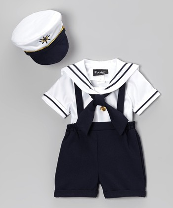 Fouger for Kids Navy & White Sailor Shorts Set - Infant, Toddler & Boys