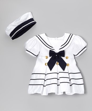 Fouger for Kids White Bow Sailor Dress & Hat - Infant, Toddler & Girls