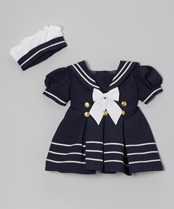 Fouger for Kids Navy & White Sailor Dress & Hat - Infant, Toddler & Girls