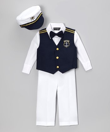 Fouger for Kids Navy & White Five-Piece Captain Vest Set - Infant, Toddler & Boys
