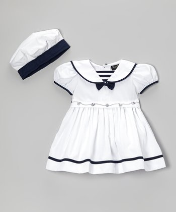 Fouger for Kids White Sailor Dress & Hat - Infant
