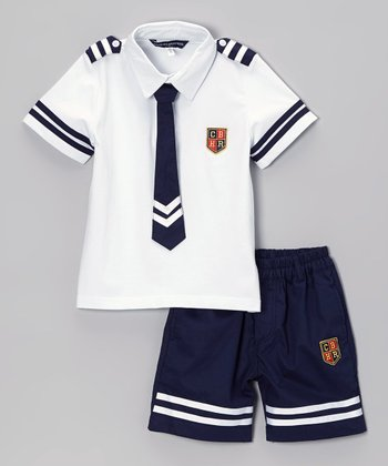 Fouger for Kids White & Navy Sailor Shorts Set - Boys