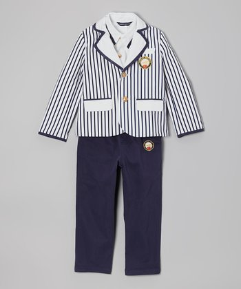 Fouger for Kids Navy & White Stripe Three-Piece Sailor Suit - Boys