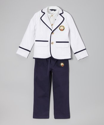 Fouger for Kids White Three-Piece Sailor Suit - Boys
