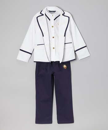 Fouger for Kids White Insignia Three-Piece Sailor Suit - Boys