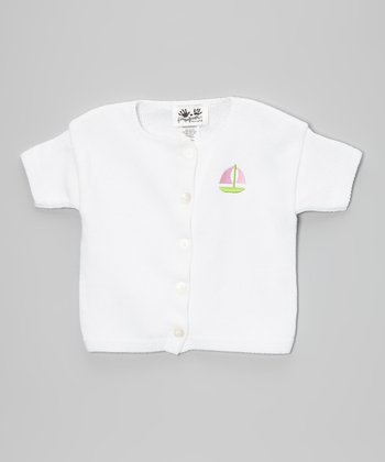 White & Pink Sailboat Cardigan - Infant, Toddler & Kids